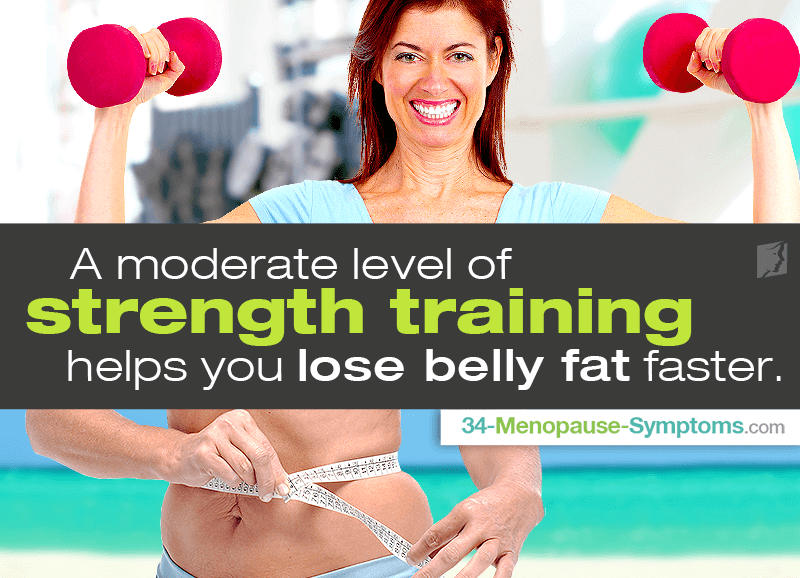 A moderate level of strength training helps you lose belly fat faster