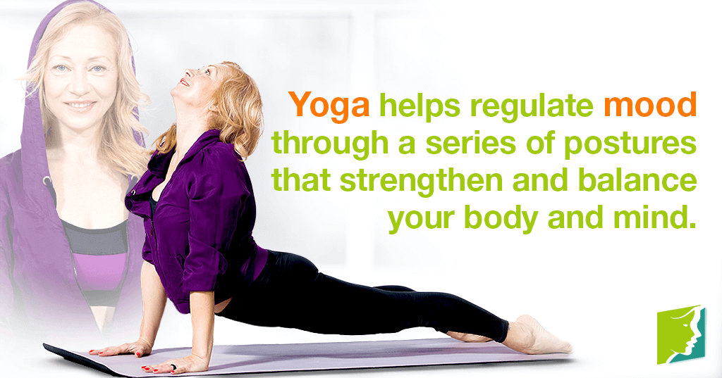 Yoga helps regulate mood through a series of postures that strengthen and balance your body and mind.