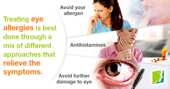 Treating eye allergies is best done through a mix of different approaches that relieve the symptoms.