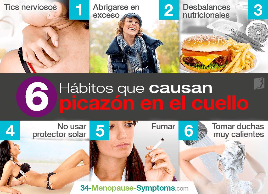 hábitos que provocan picazón en el cuello