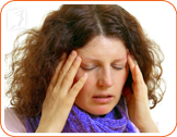 Disoriented woman: lightheadedness, imbalance and disorientation are symptoms of menopausal dizziness