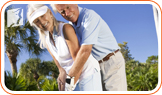 Couple playing golf:  socialize and doing exercise can help combat depression