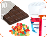 Chocolate, candies and brand pills: caffeine sources