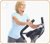 Woman doing exercise:  exercise will reduce the tension in menopause