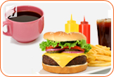 Coffee and burger: caffeine and junk food exacerbate digestive problems