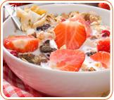 Yogurt and fruits: a breakfast with yogurt, fruits and granola it´s ideal to get fiber and calcium