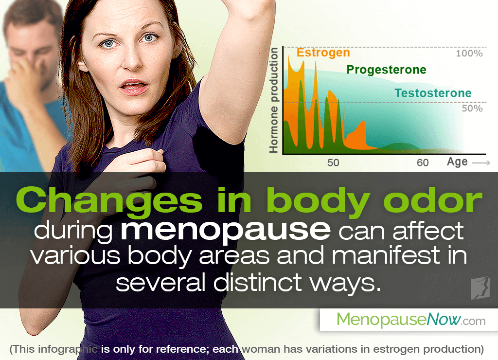 The most common menopausal body smell is a simple intensification of the natural scent of sweat, often caused by hormonal imbalance