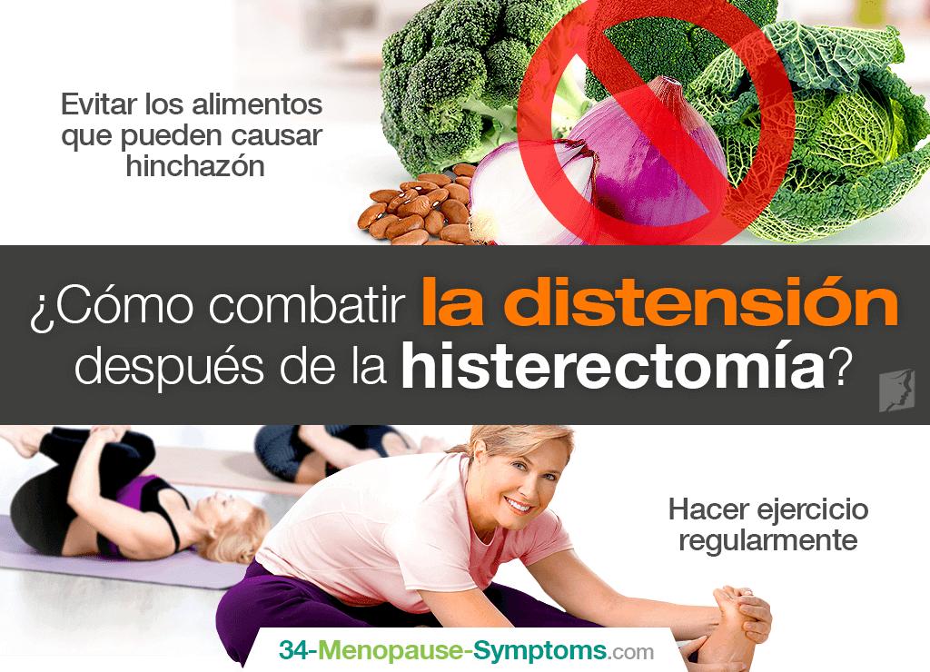 Gases o distensión abdominal post histerectomía