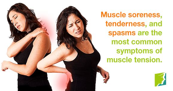Muscle soreness, tenderness, and spasms are the most common symptoms of muscle tension