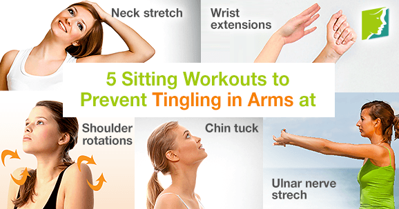 5 Sitting workouts to prevent tingling in arms at work.