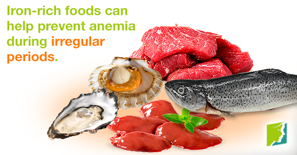 Iron-rich foods can help prevent anemia during irregular periods