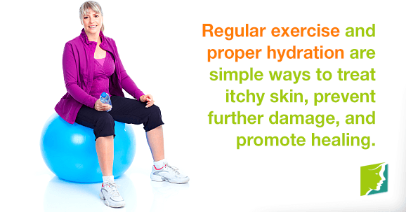 Regular exercise and proper hydration are simple ways to treat itchy skin, prevent further damage, and promote healing