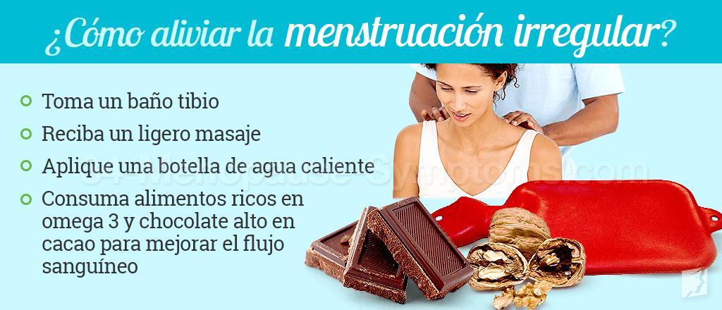 como aliviar la menstraución irregular