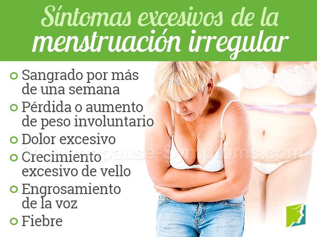 Síntomas excesivos de la menstruación irregular