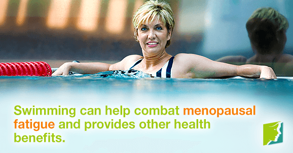 Swimming can help combat menopausal fatigue and provides other health benefits.