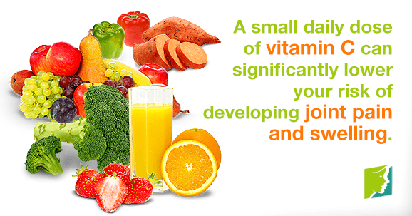 A small daily does of vitamin C can significantly lower your risk of developing joint pain and swelling.