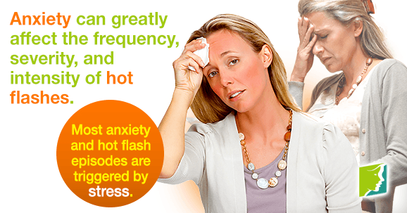 Most anxiety and hot flash episodes are triggered by stress