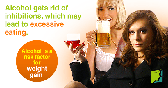 Alcohol gets rid of inhibitions, which may lead to excessive eating