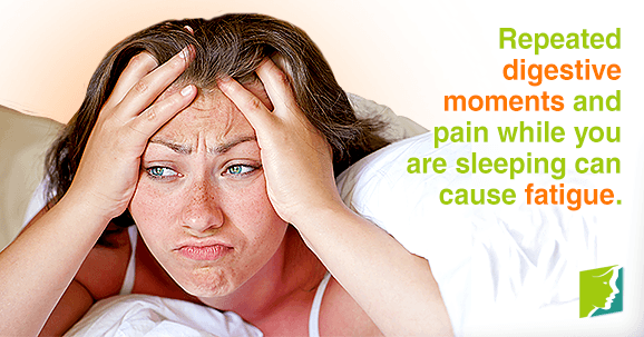 Repeated digestive moments and pain while you are sleeping can cause fatigue