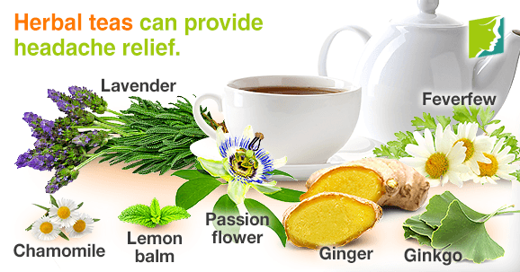 Herbal teas can provide headaches relief