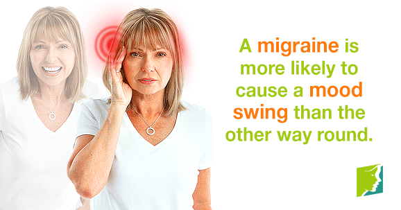 A migraine is more likely to cause a mood swings than the other round