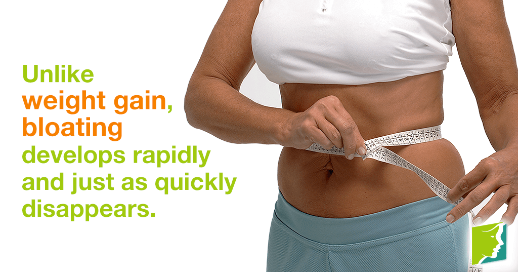 Unlike weight gain, bloating develops rapidly and just as quickly disappears