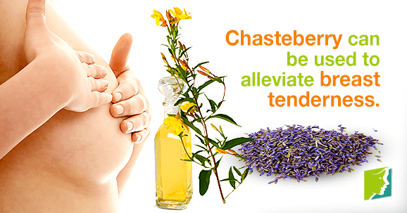Evening primrose and chasteberry are helpful for treating breast tenderness.