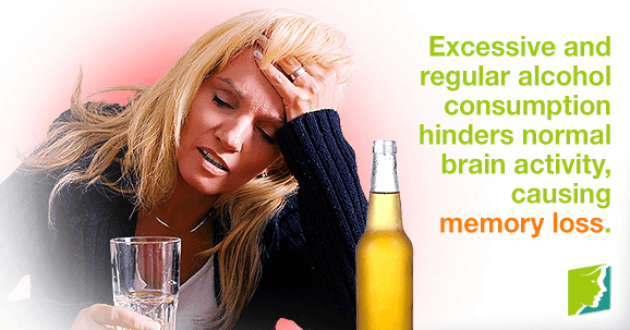 Excessive and regular alcohol consumption hinders normal brain activity, causing memory loss
