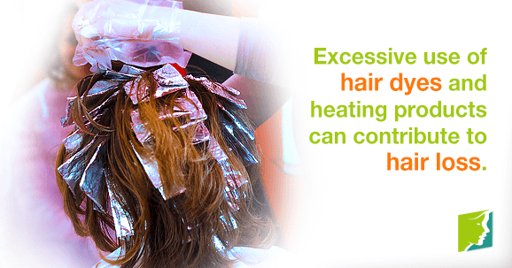 Excessive use of hair dyes and heating products can contribute to hair loss