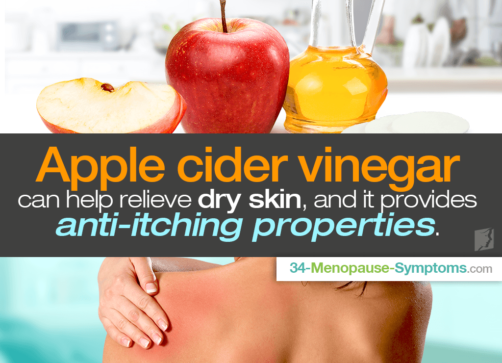 Apple cider vinegar can help relieve dry skin, and ir provides anti-itching properties.