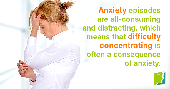Anxiety episodes are all-consuming and distracting, which means that difficulty concentrating is often a consequence of anxiety.