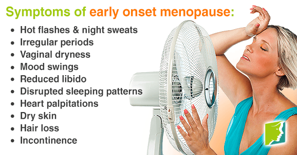 Early onset menopause is announced by many different symptoms, like hot flashes
