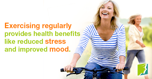 Exercising regularly provides health benefits like reduced stress and improved mood.
