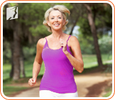 Woman jogging: exercise restores hormone levels and helps control fatigue.