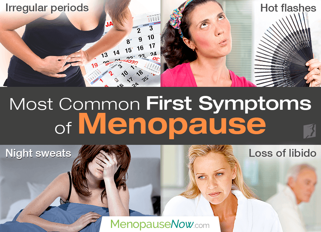Common early symptoms of menopause include hot flashes, irregular periods, and low libido.