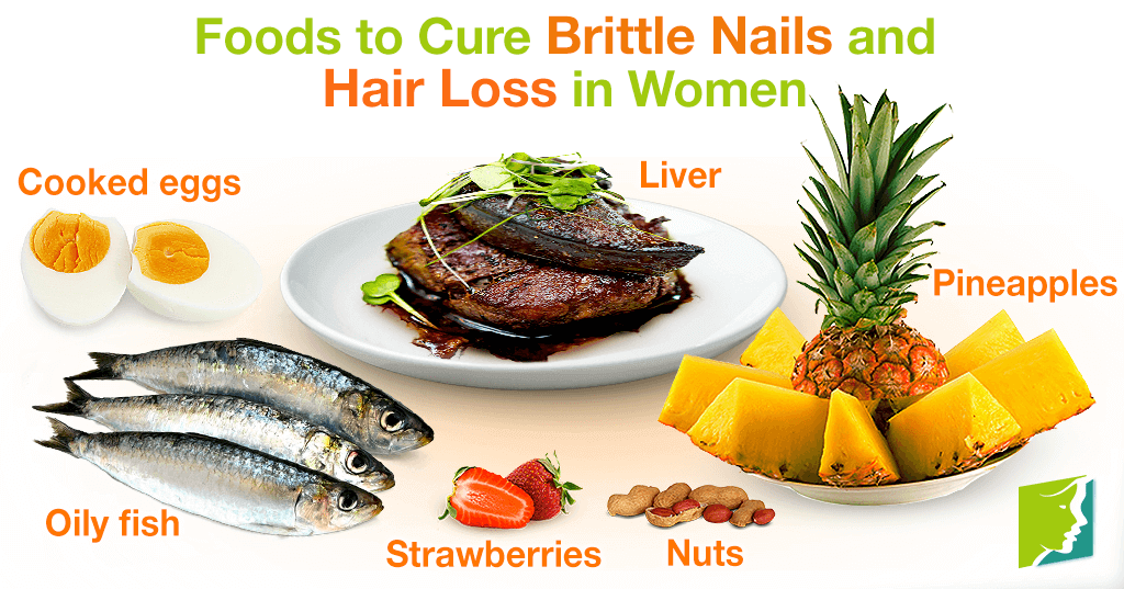 Foods to cure brittle nails and hair loss in women