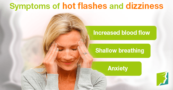 Symptoms of hot flashes and dizziness