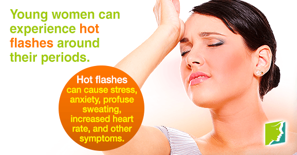 Young women can experience hot flashes around their periods