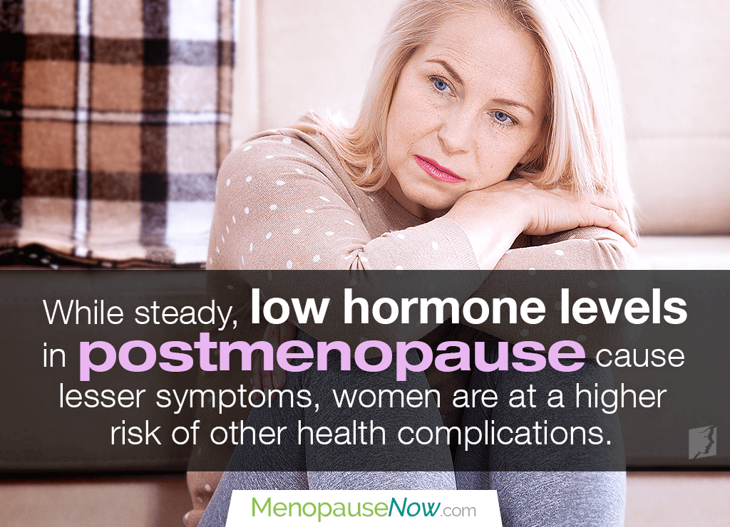 During postmenopause, the drop in hormone levels cause uncomfortable symptoms.