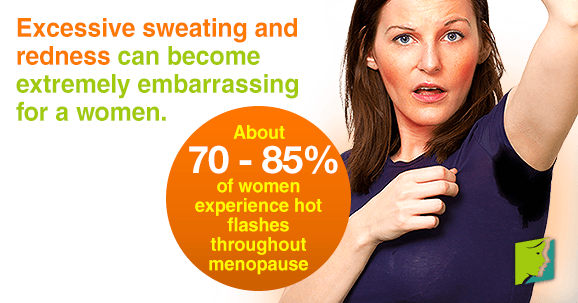 Excessive sweating and redness can become extremely embarrassing for a wome