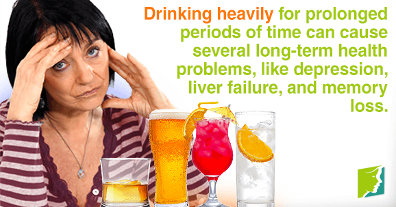Drinking heavily and frecuently can cause long-term health problems