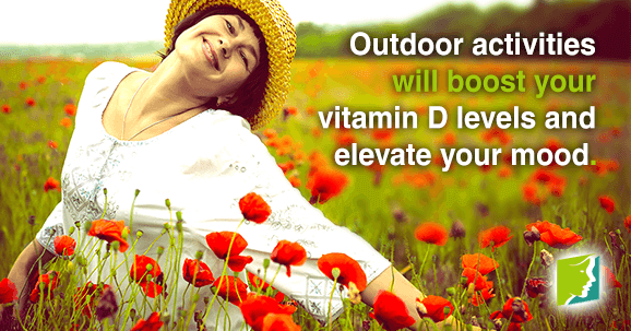 Outdoor activities will boost your vitamin D levels and elevate your mood.