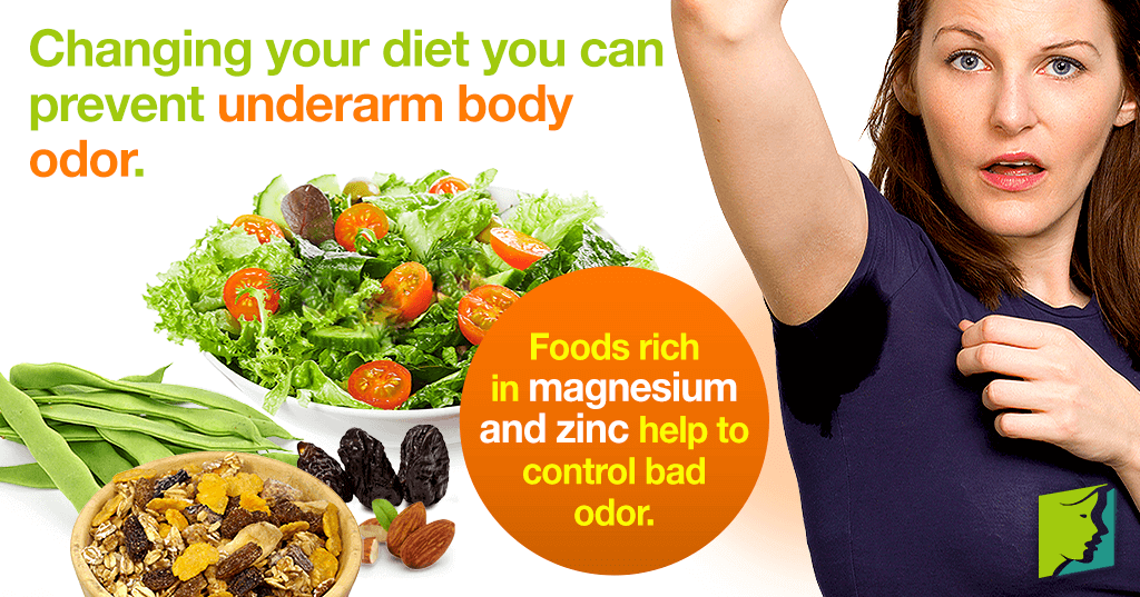 Changing your diet you can prevent underarm body odor