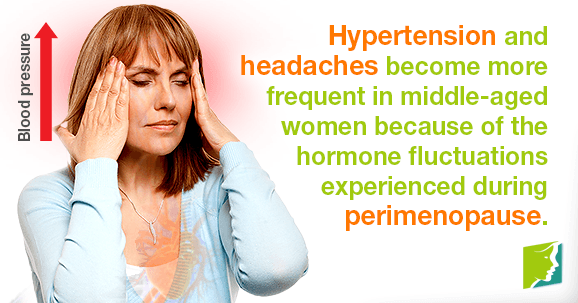Hypertension and headaches become more frequent in middle-aged women