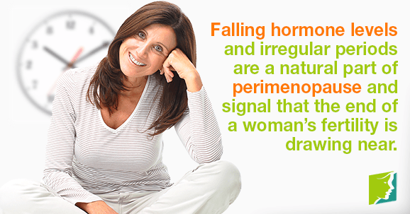 Falling hormone levels and irregular periods are a natural part of perimenopause