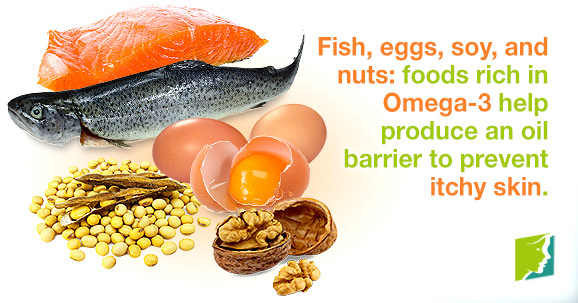 Fish, eggs, soy, and nuts: foods rich in Omega-3 help produce an oil barrier to prevent itchy skin.