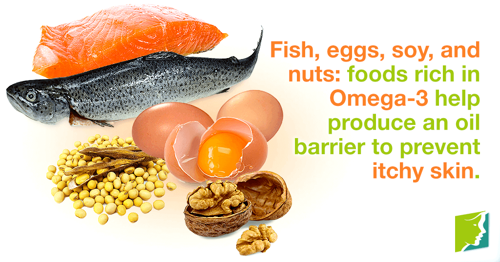 Fish, eggs, soy, and nuts: foods rich in Omega-3 help produce an oil barrier to prevent itchy skin