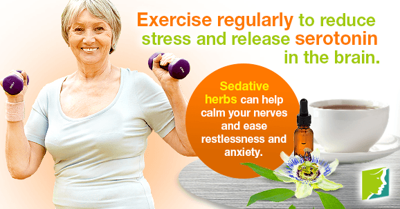 Exercise regularly to reduce stress and release serotonin in the brain