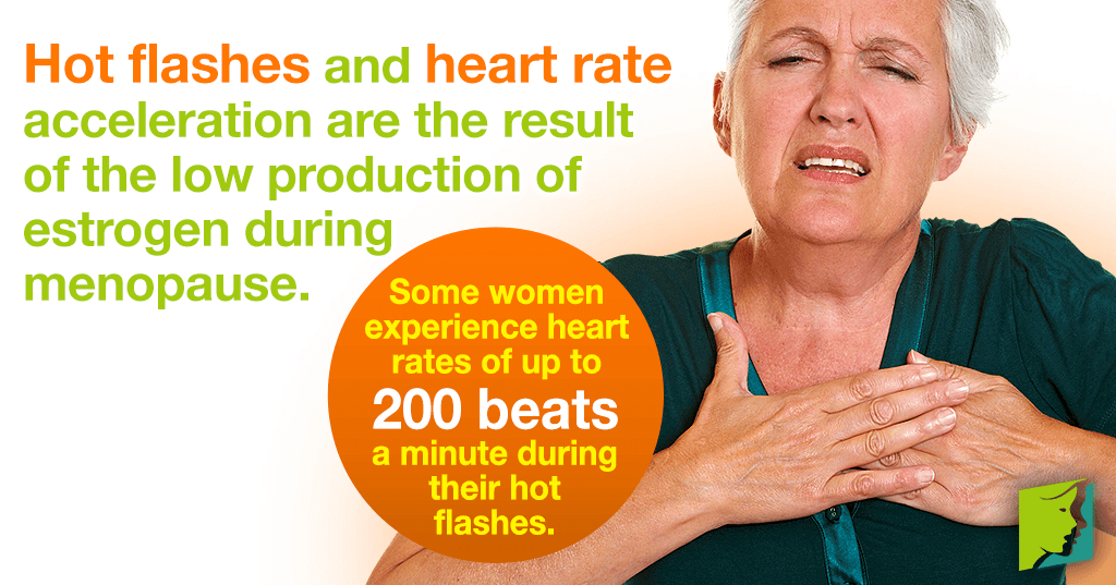 Hot flashes and heart rate acceleration are the result of the low production of estrogen