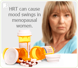 HRT can cause mood swings in menopausal women